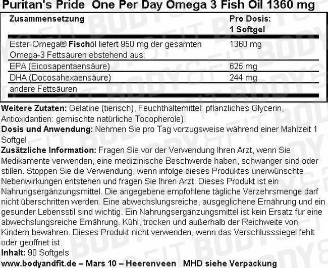 One Per Day Omega-3 Fish Oil Nutritional Information 3