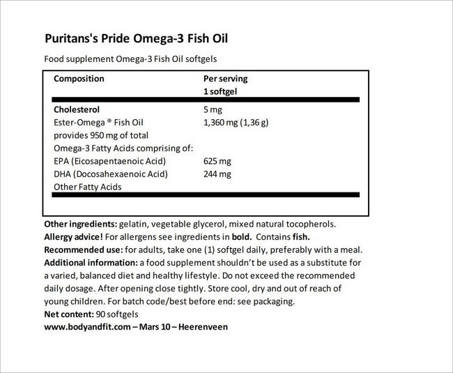 One Per Day Omega-3 Fish Oil Nutritional Information 4