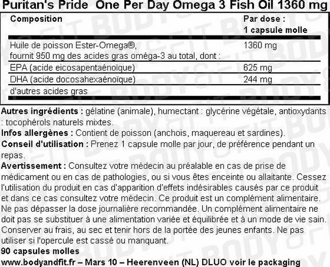 One Per Day Omega-3 Fish Oil Nutritional Information 1