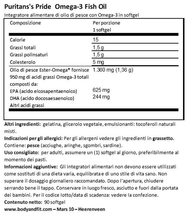 Omega 3 Olio di Pesce One per day Nutritional Information 1