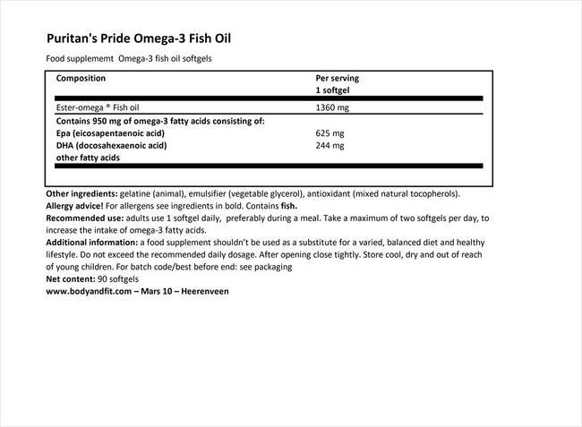 オメガ3フィッシュオイルプラスコレステロールサポート Nutritional Information 1