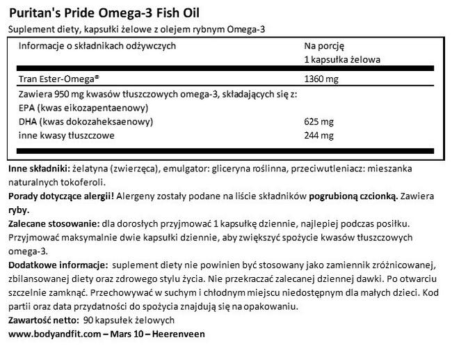 Omega-3 Fish Oil Plus Cholesterol Support Nutritional Information 1