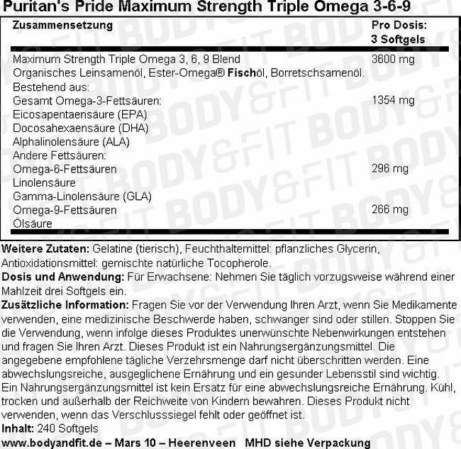 Maximum Strength Triple Omega 3-6-9 Nutritional Information 1
