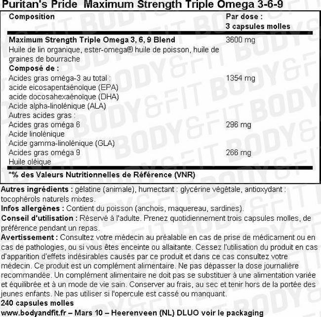 Maximum Strength Triple Omega 3-6-9 Nutritional Information 1