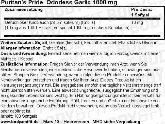 Knoblauch (geruchlos) 1000mg Nutritional Information 1