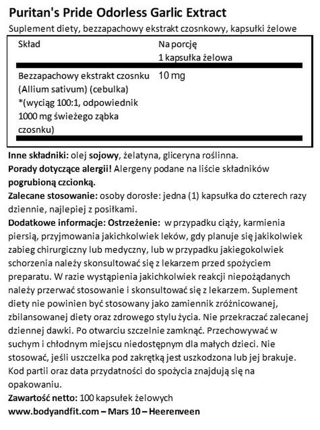 Bezwonny czosnek 1000 mg Nutritional Information 1