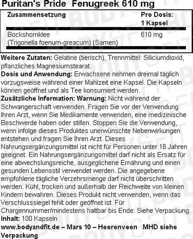 Fenugreek 610 mg Nutritional Information 1