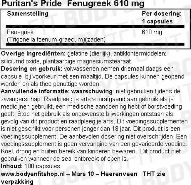 Fenugreek 610mg Nutritional Information 1