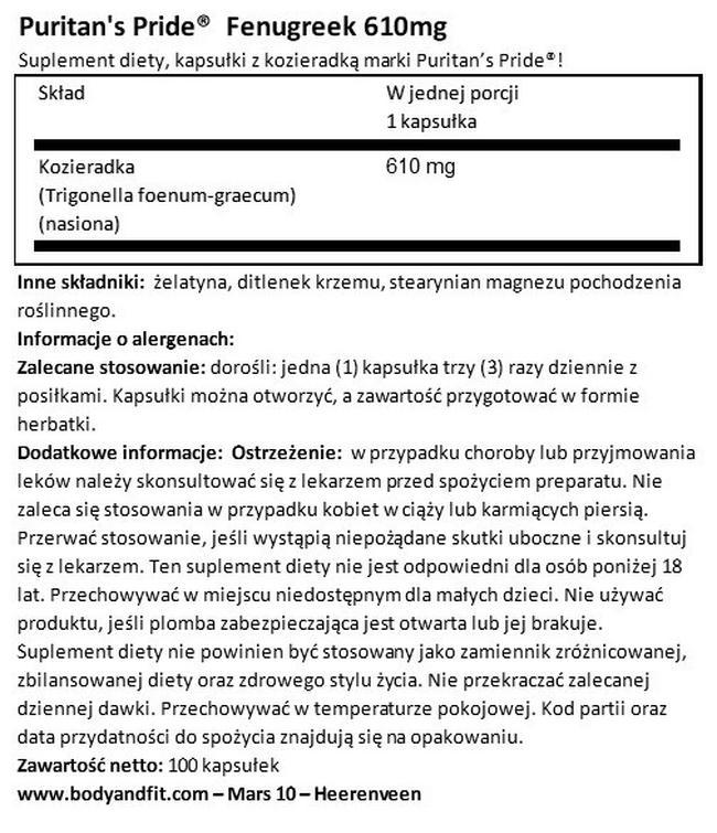 Kozieradka 610 mg Nutritional Information 1