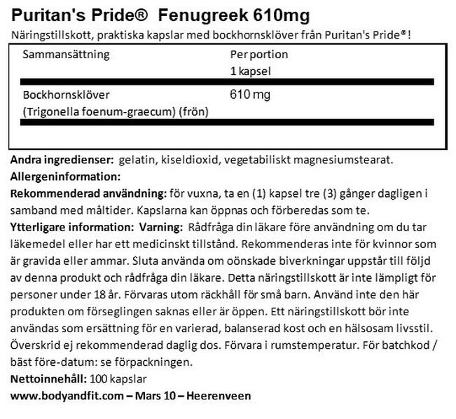 Fenugreek 610 mg Nutritional Information 1