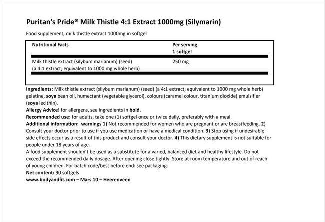 ミルク シスル エクストラクト 1000mg (シリマリン) Nutritional Information 1
