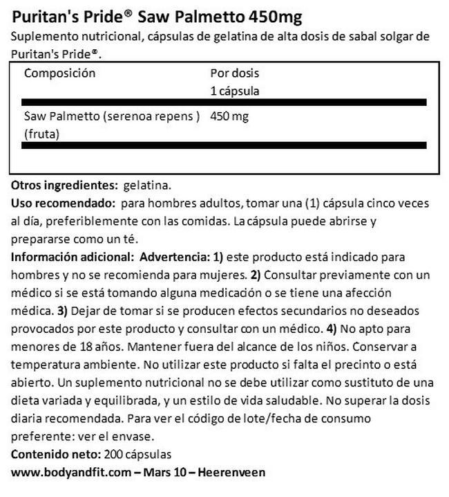 Palma Enana Americana 450 mg (Saw Palmetto) Nutritional Information 1