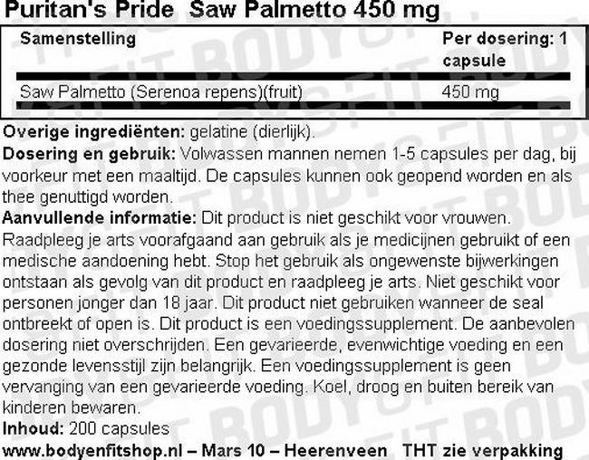 Saw Palmetto 450mg Nutritional Information 1