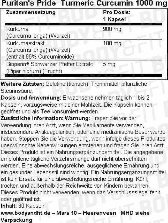 Turmeric Curcumin 1000mg Nutritional Information 1