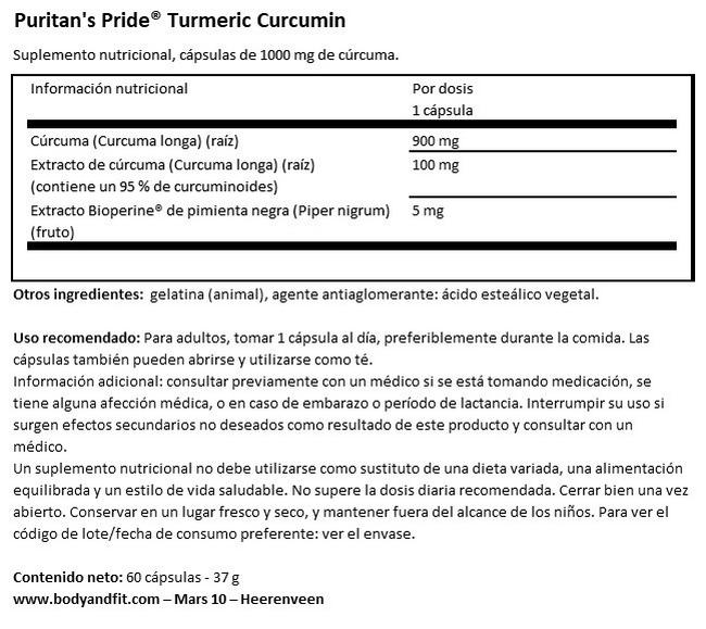 Curcuma Turmeric 1000mg Nutritional Information 1
