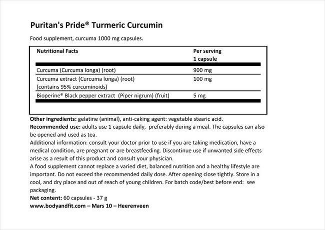 ターメリック クルクミン 1000mg Nutritional Information 1