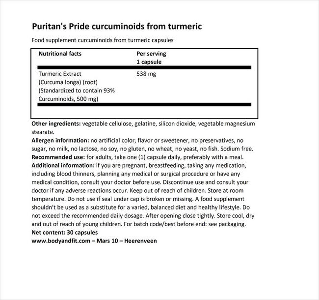 Curcuminoids from Turmeric Nutritional Information 1