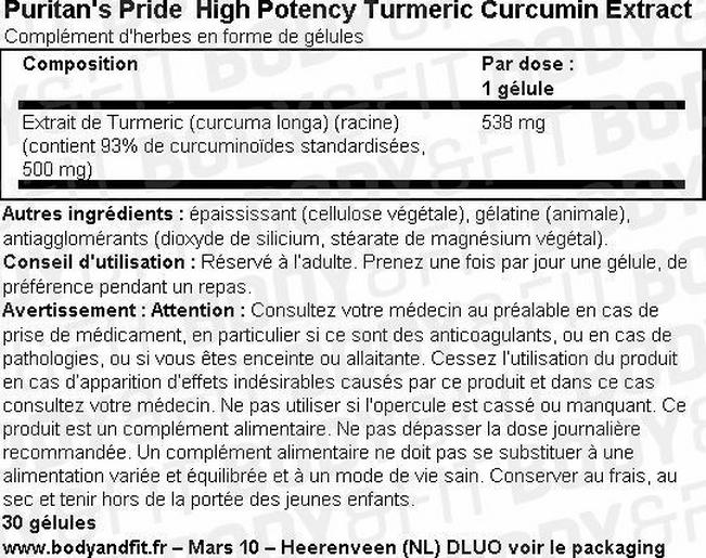 High Potency Turmeric Curcumin Extract Nutritional Information 1