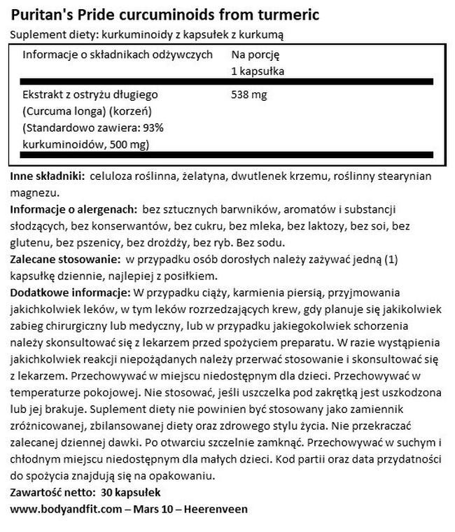 Kurkuminoidy z kurkumy Nutritional Information 1
