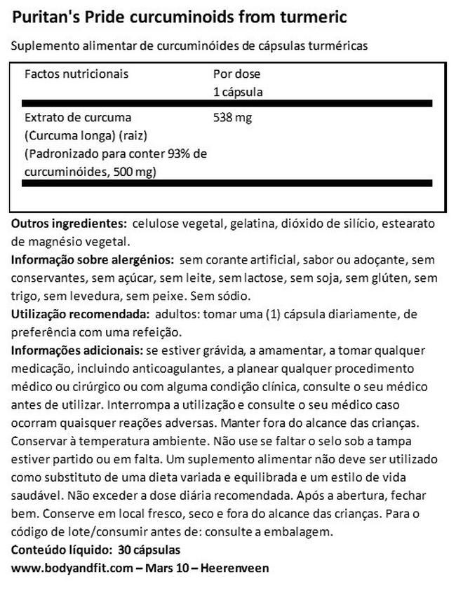 Curcuminóides da curcuma Nutritional Information 1