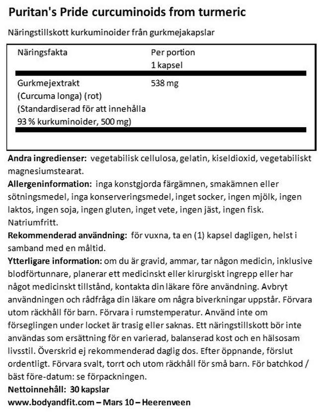 Kurkuminoid från gurkmeja Nutritional Information 1