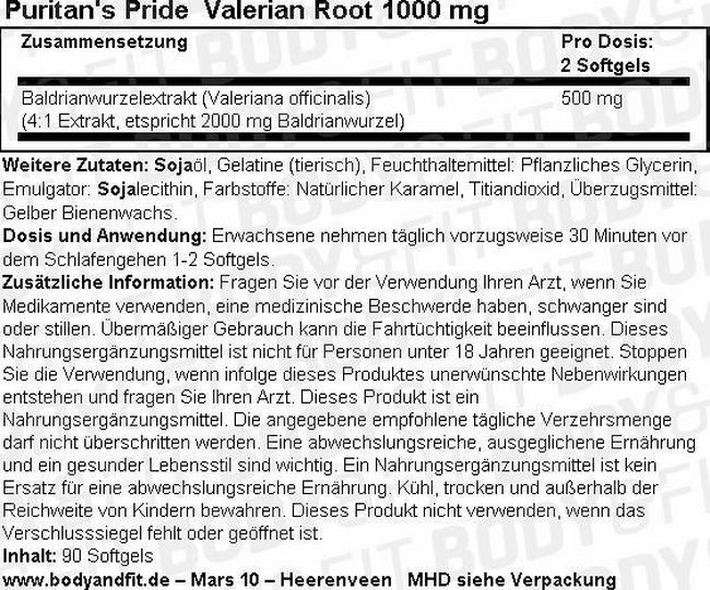Valerian Root 1000mg Nutritional Information 3