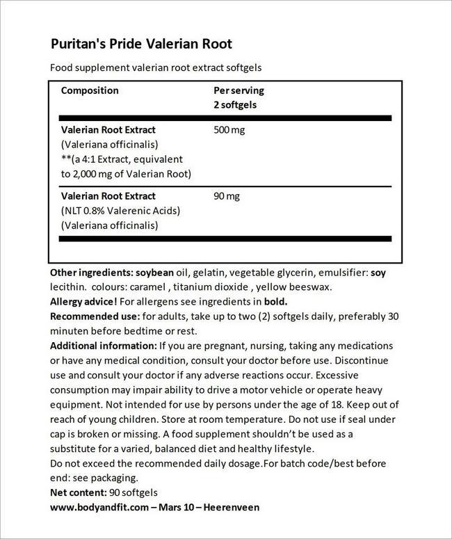 Valerian Root 1000mg Nutritional Information 4