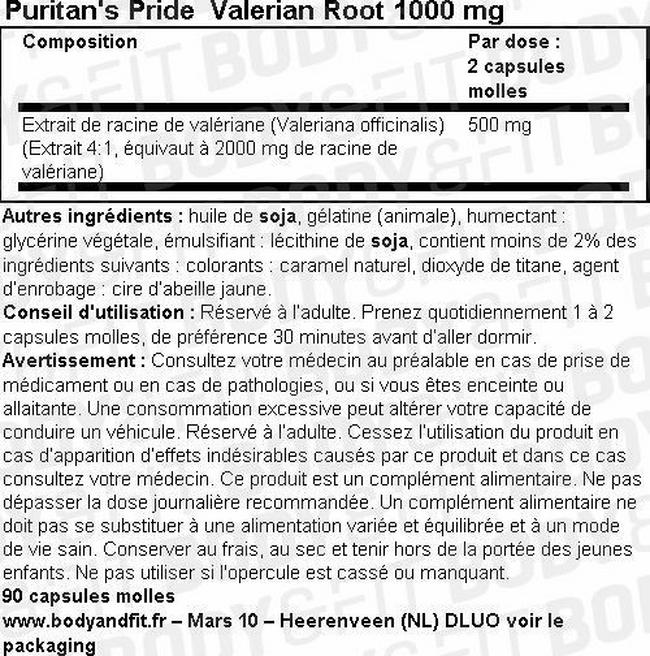 Gélules de racine de valériane Valerian Root 1000mg Nutritional Information 1