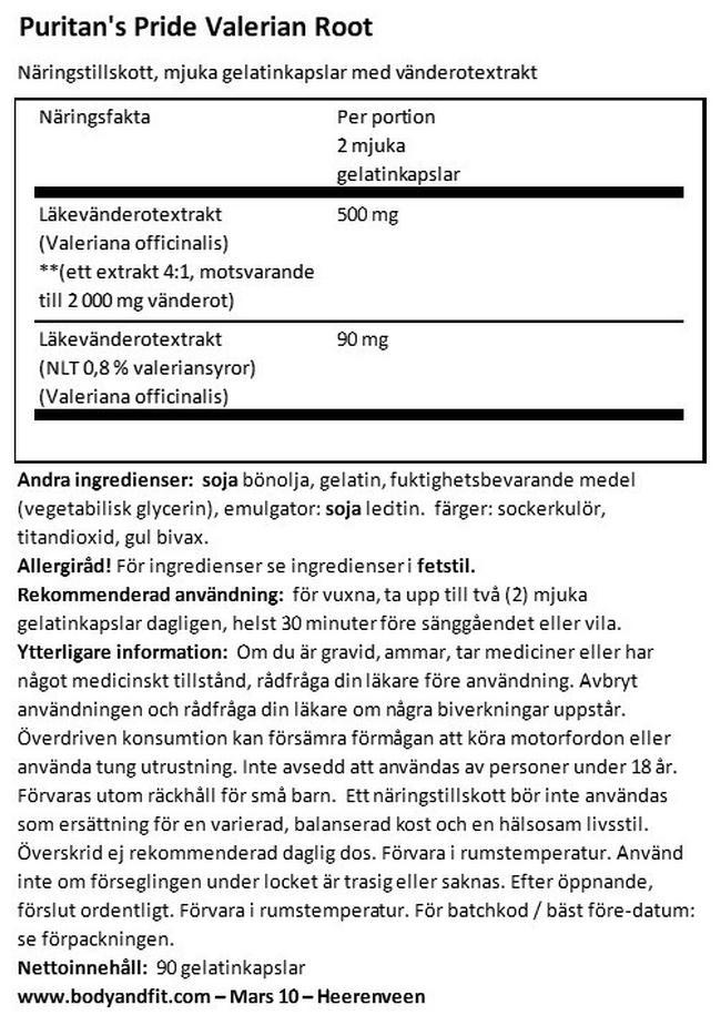 Valerian Root 1000mg Nutritional Information 1