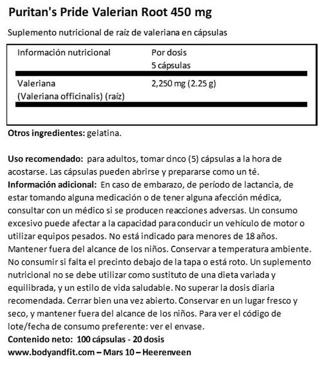 Valerian Root 450 mg Nutritional Information 1