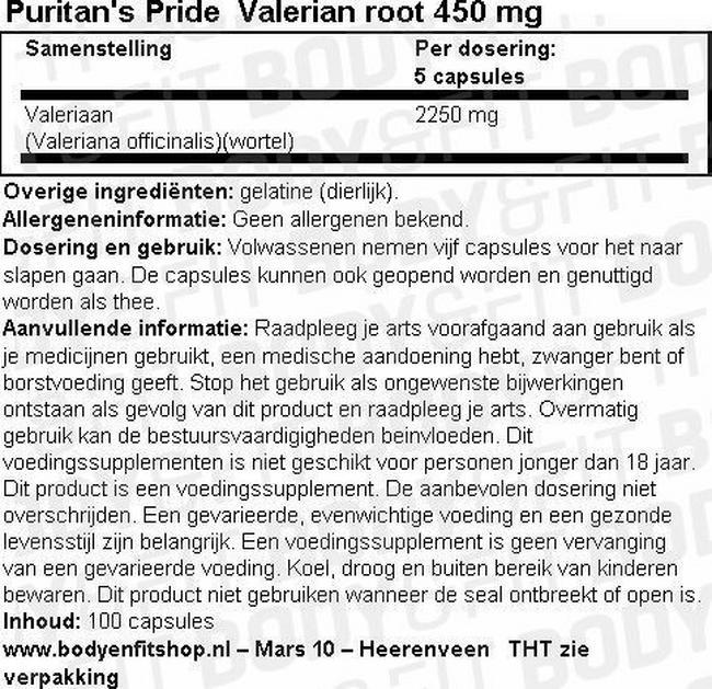 Valerian Root 450mg Nutritional Information 1