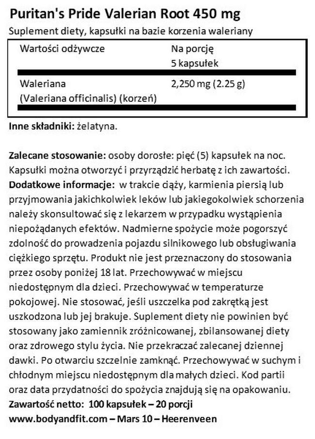 Korzeń kozłka lekarskiego 450mg Nutritional Information 1