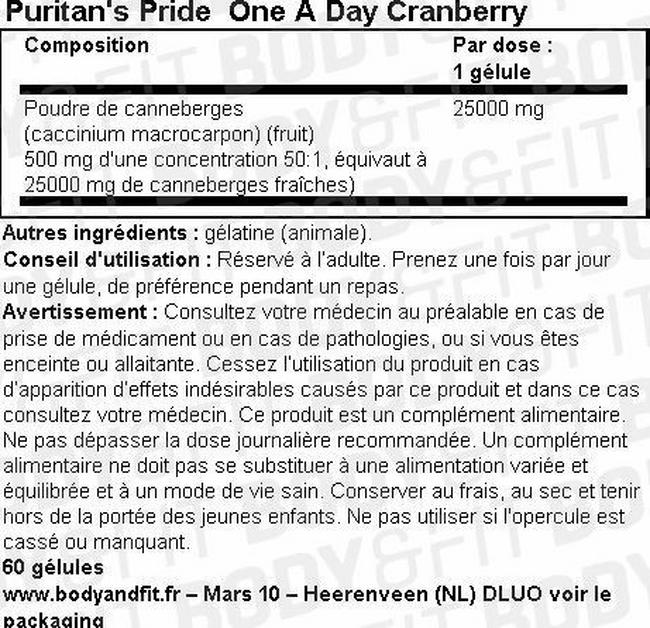 One A Day Cranberry Nutritional Information 1