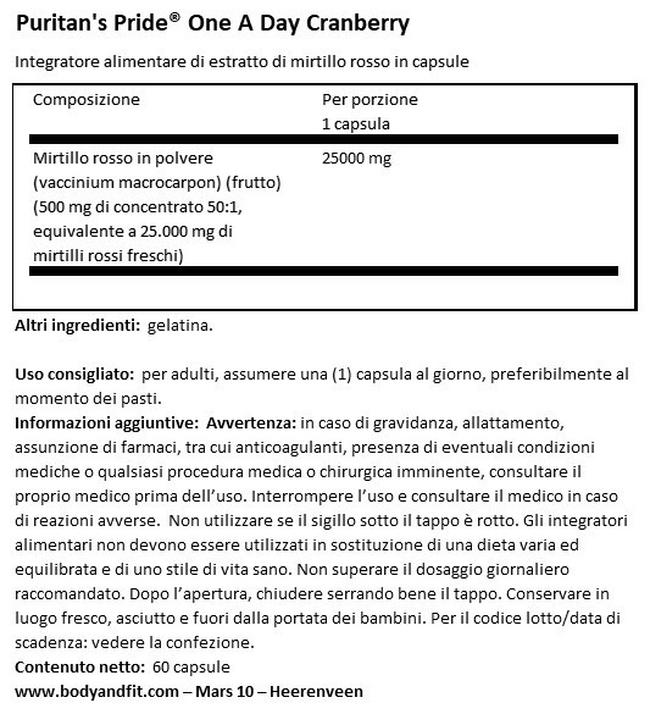 Mirtillo One a Day Nutritional Information 1