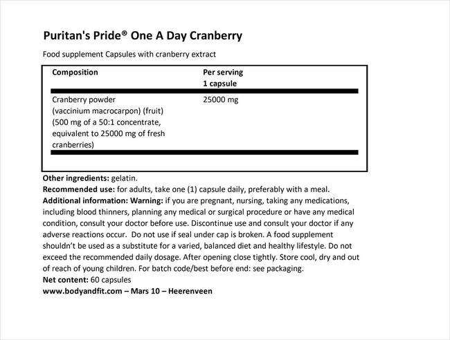 ワンアデイクランベリー Nutritional Information 1