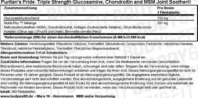 Triple Strength Glucosamine, Chondroitin & MSM Joint Soother® Nutritional Information 1