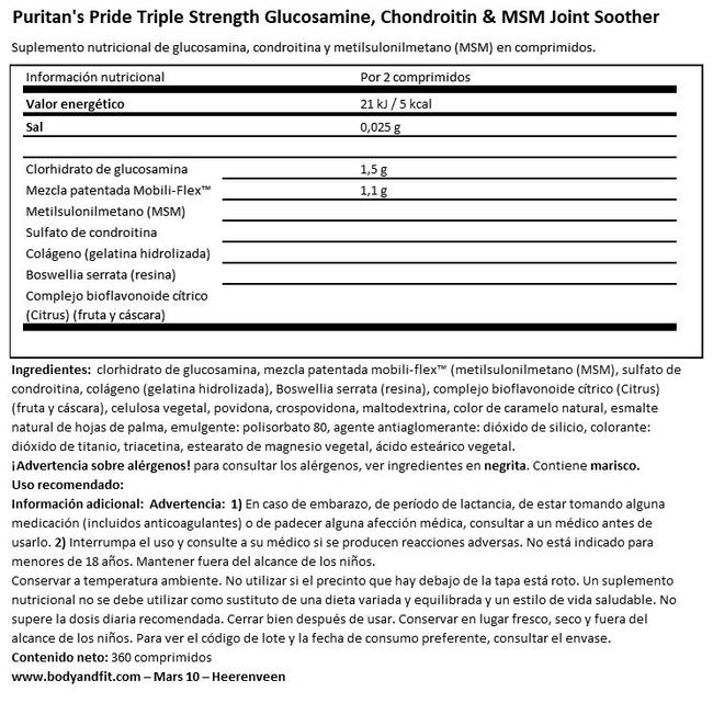Triple Strength Glucosamine, Chondroitin & MSM de Joint Soother® Nutritional Information 1