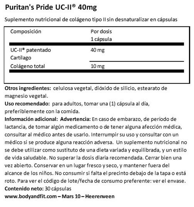 UC-II® 40 mg Undenatured Type II Collagen Nutritional Information 1