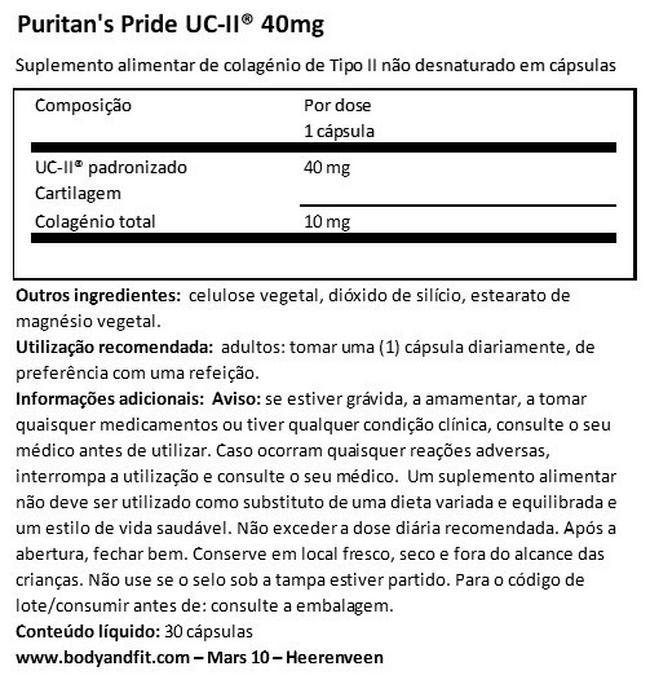 UC-II® 40mg Undenatured Type II Collagen Nutritional Information 1