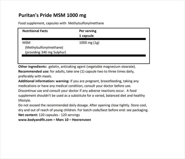 MSM 1000 mg Nutritional Information 1