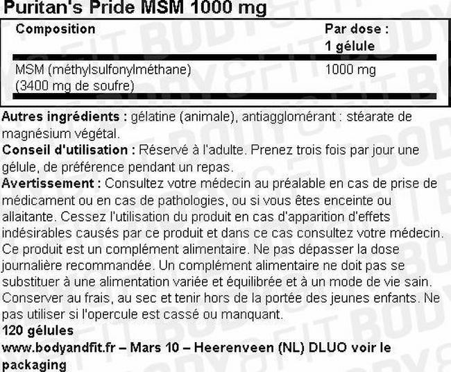 MSM 1000 mg Nutritional Information 1