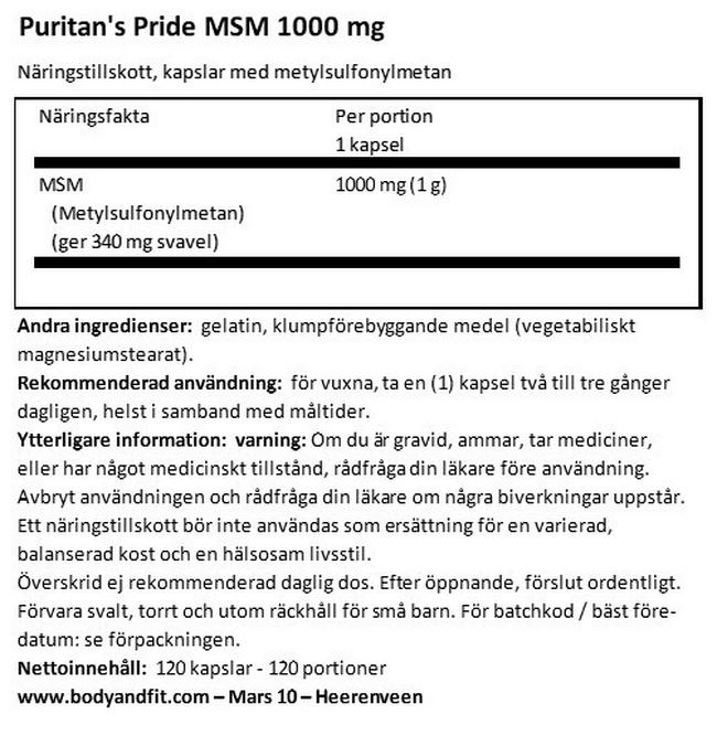 MSM 1000mg Nutritional Information 1