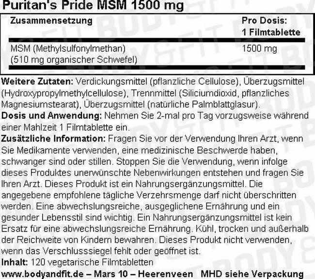 MSM 1500 mg Nutritional Information 1