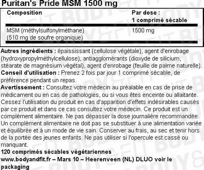 MSM 1500 mg Nutritional Information 1