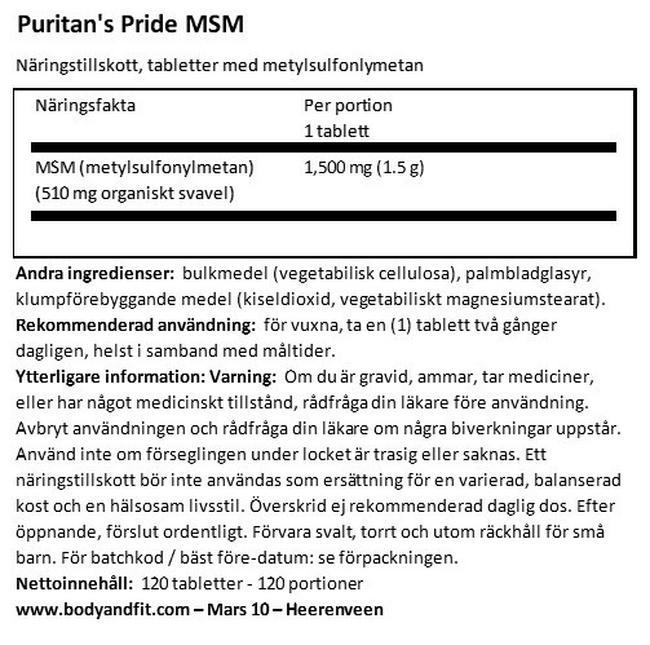 MSM 1500mg Nutritional Information 1