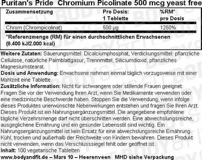 Chromium Picolinate 500 mcg (hefefrei) Nutritional Information 1