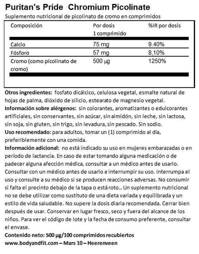 Chromium Picolinate 500 µg Yeast Free Nutritional Information 1