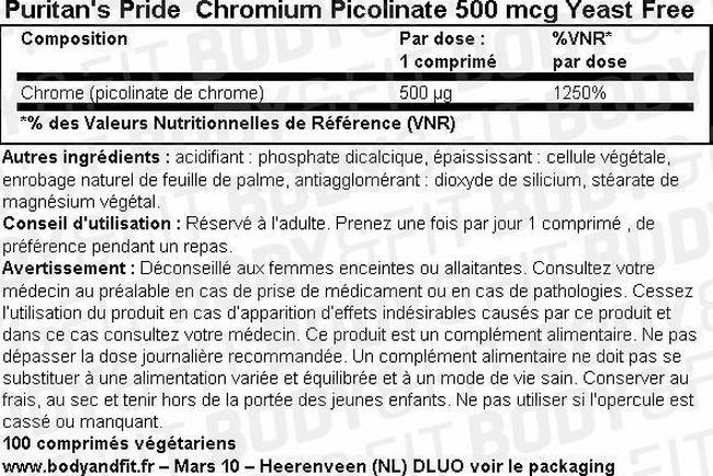 Chromium Picolinate 500 mcg Yeast Free Nutritional Information 1