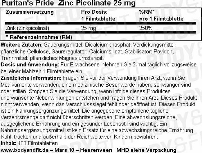 Zink Picolinat 25mg Nutritional Information 1