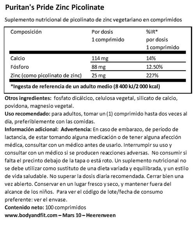 Zinc Picolinate 25 mg Nutritional Information 1